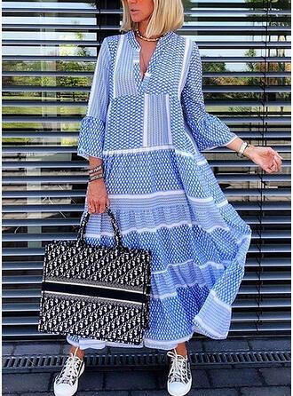 Minta 3/4-es ujjú/Harang ujjú Ingruha Hétköznapokra Maxi φορέματα
