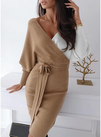 Color Block Chunky knit V-Neck Casual Long Tight Sweater Dress