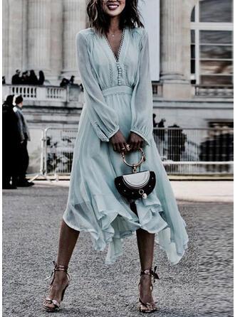 Solid Long Sleeves A-line Skater Elegant Midi Dresses