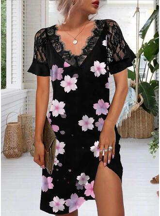 Impresión/Floral Encaje Manga Corta Vestidos sueltos Sobre la Rodilla Casual Túnica Vestidos