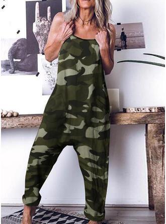 Camouflage Spaghetti Ærmeløs Casual jumpsuit
