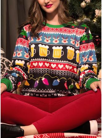 Dames Polyester Print Hert Kerst Sweatshirt