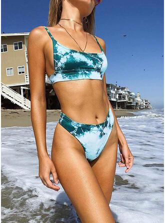 Gradient W prążki Dekolt w kształcie litery U Nieformalny Tie-Dye Bikini Stroje kąpielowe