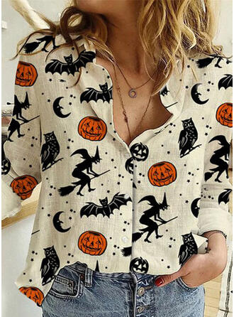Print Lapel Long Sleeves Button Up Casual Halloween Shirt Blouses