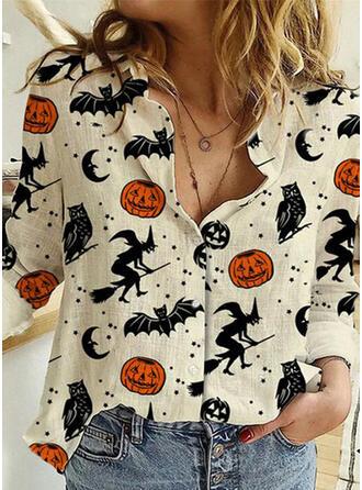 Halloween Print Lapel Long Sleeves Casual Blouses