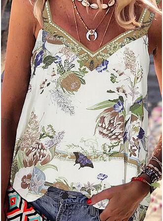 Impresión Floral Correa Sin mangas Casual Camisetas sin mangas