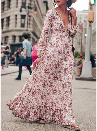 Nadrukowana/Kwiatowy Długie rękawy Koktajlowa Casual/Boho Maxi Sukienki