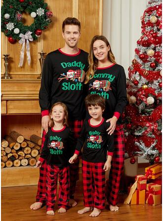 Plaid Letter Dessin Animé Tenue Familiale Assortie Pyjama De Noël