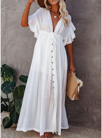 Enfärgad V-ringning Elegant Strandklänningar Badkläder