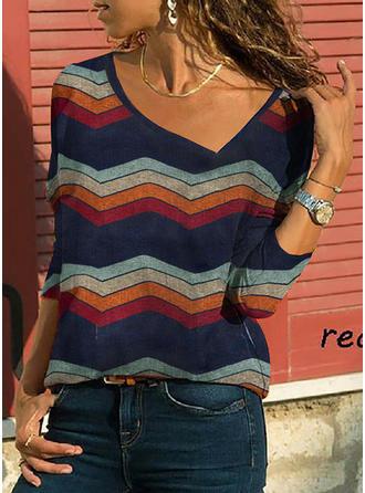 À Rayures Col V Manches 3/4 Décontractée Tricotage T-shirts