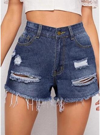 Ripped Tassel Solid Denim Denim & Jeans