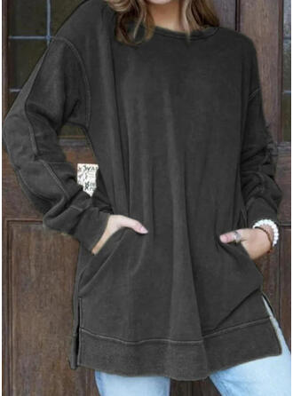 Solid Pockets Round Neck Long Sleeves Sweatshirt