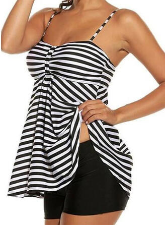Stripe Strap V-Neck Vintage Plus Size Tankinis Swimsuits