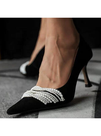 De mujer PU Tacón chupete Salón con Perlas de imitación zapatos