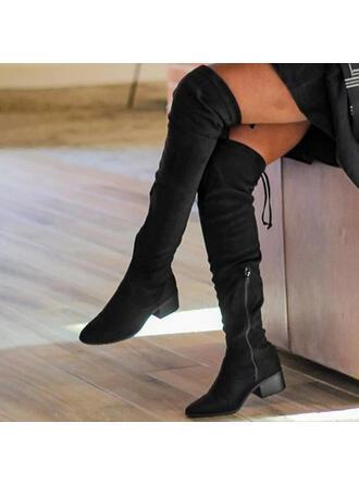 De mujer Ante Tacón ancho Botas con Cremallera Cordones Color sólido zapatos