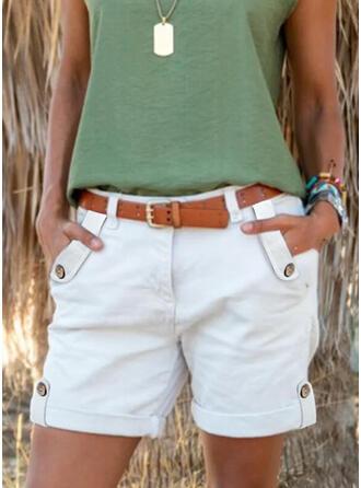 Sólido Por encima de la rodilla Casual Tallas Grande Bolsillo Botones Pantalones Pantalones cortos