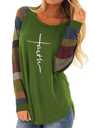 Impresión Bloque de color Cuello redondo Manga Larga Casual camiseta