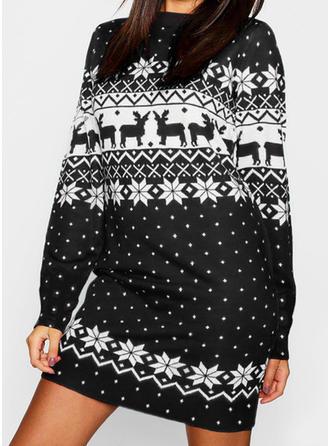 Print Long Sleeves Shift Above Knee Christmas/Casual Dresses