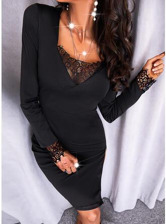 固体 レース 長袖 シースドレス 膝上 リトルブラックドレス/エレガント ドレス