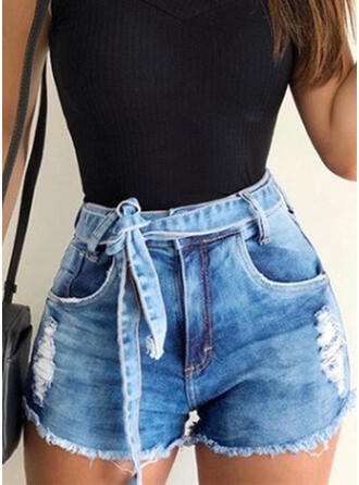 Ripped Drawstring Solid Denim Shorts