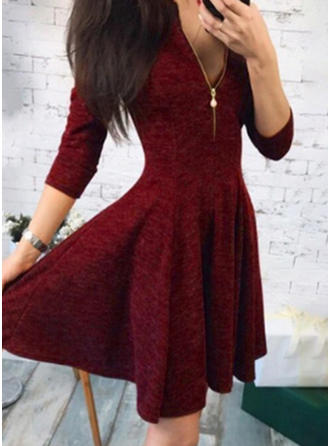 Solid 3/4 Sleeves A-line Above Knee Vintage/Casual/Elegant Dresses
