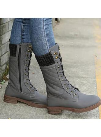 De mujer PU Tacón ancho Botas con Cordones Color sólido zapatos