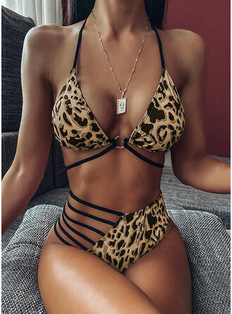 Lampart W prążki Dekolt w kształcie litery V Seksowny Bikini Stroje kąpielowe