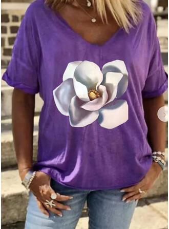 Floral Print V-Neck 1/2 Sleeves T-shirts