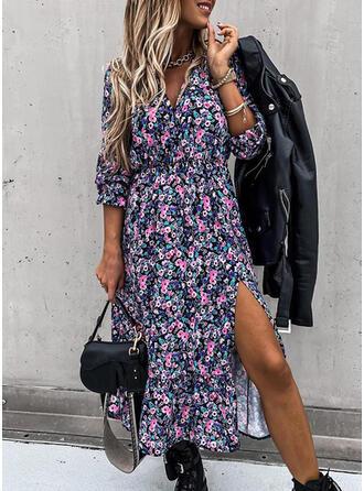 Print/Floral 3/4 Sleeves Sheath Casual Midi Dresses