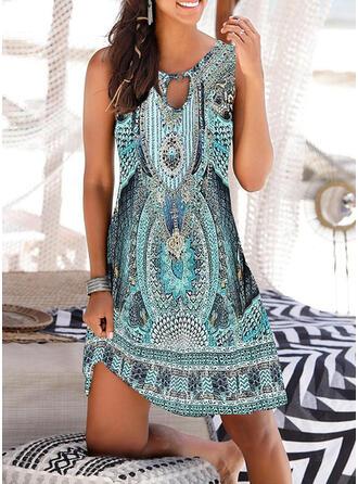 Print Sleeveless Sheath Above Knee Casual/Boho Dresses