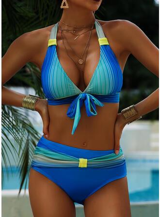 Nadruk Wiązane Wiązany na szyi Duży rozmiar Kolorowy Bikini Stroje kąpielowe