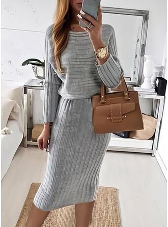 固体 Knit 長袖 ボディコンドレス ペンシル カジュアル ミディ ドレス