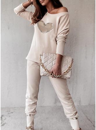 ハート 印刷 カジュアル プラスサイズ Blouse & ツーピースの服 Set ()