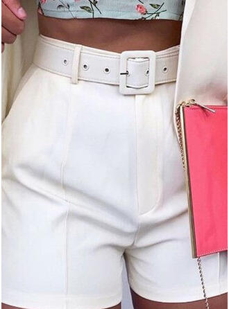 Solid Pockets Elegant Solid Shorts