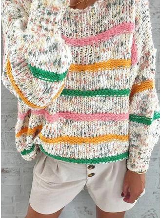 Prążek Okrągły dekolt Casual Swetry