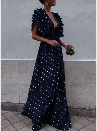 PolkaDot Flare Sleeves A-line Vintage/Party/Elegant Maxi Dresses