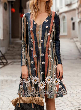 Print/Floral/Striped Long Sleeves Shift Knee Length Casual/Vacation Dresses