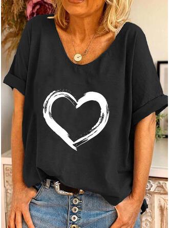 Hjärta Print Rund-ringning Korta ärmar T-tröjor