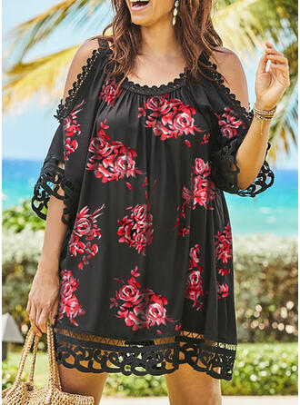 Encaje/Impresión/Floral Mangas 1/2/Top sin hombros Tendencia Sobre la Rodilla Casual/Vacaciones Vestidos