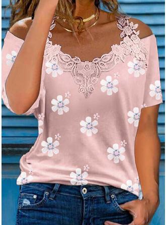 Impresión Floral Encaje Top Con Hombros Manga Corta manga de hombros fríos Casual Blusas