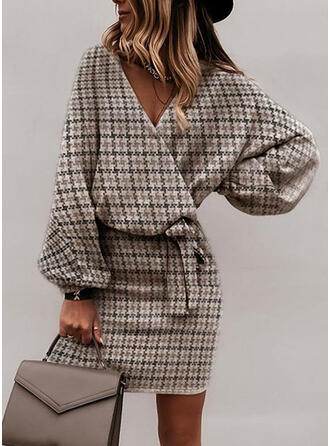 Print Long Sleeves Bodycon Above Knee Elegant Wrap Dresses