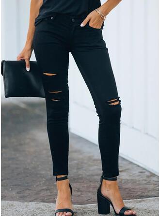 Solid Extra stor storlek Rev Sexig Enkel Denim & Jeans