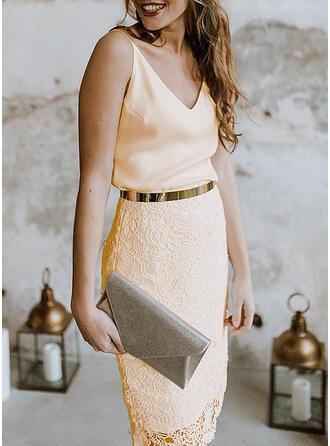 Encaje/Sólido Sin mangas Ajustado Sobre la Rodilla Fiesta/Elegante Vestidos