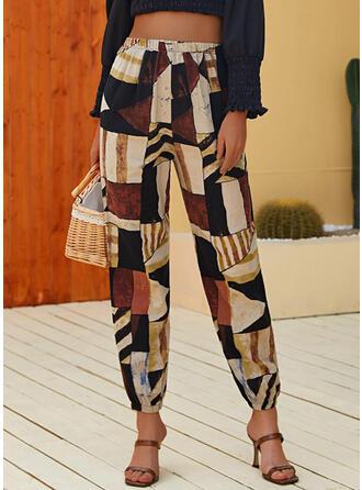 Geometrický Oříznuté Neformální Dovolená patch Kalhoty