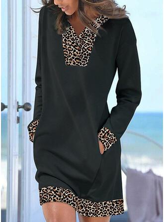 Leopard Dlouhé rukávy Šaty Shift Nad kolena Neformální Tunika Šaty