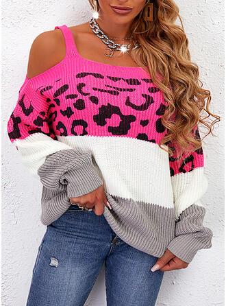 Print Color Block Leopard Cold Shoulder Casual Sweaters