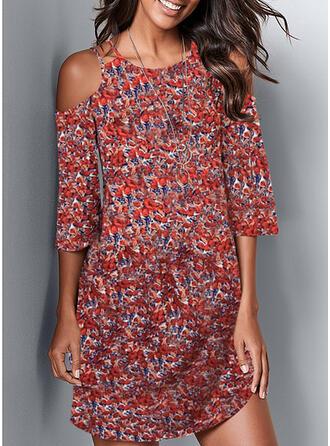 Impresión/Floral Mangas 3/4/Top sin hombros Cubierta Sobre la Rodilla Casual Vestidos