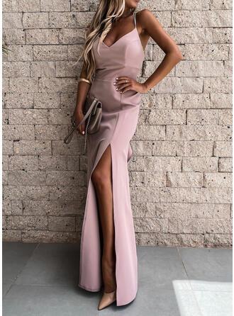 Solid Sleeveless Sheath Sexy/Party Maxi Dresses