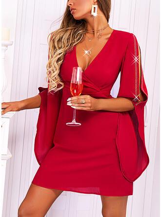 固体 1/2袖 冷たい肩の袖 シースドレス 膝上 エレガント ドレス