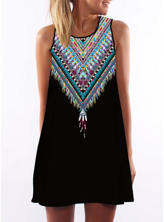 Print Sleeveless Shift Above Knee Sexy/Casual/Boho/Vacation Dresses